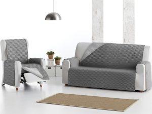 Funda sofá reversible gris claro, gris oscuro