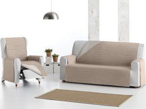 Funda de sofá reversible beige/cruda