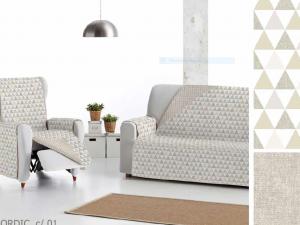 Funda sofá reversible estampado y beige