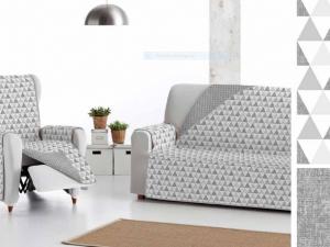 Cubre sofá reversible estampado y gris