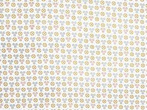 Tela patchwork flores mostaza