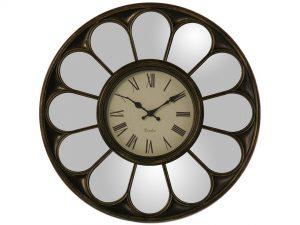 Reloj pared espejo dorado