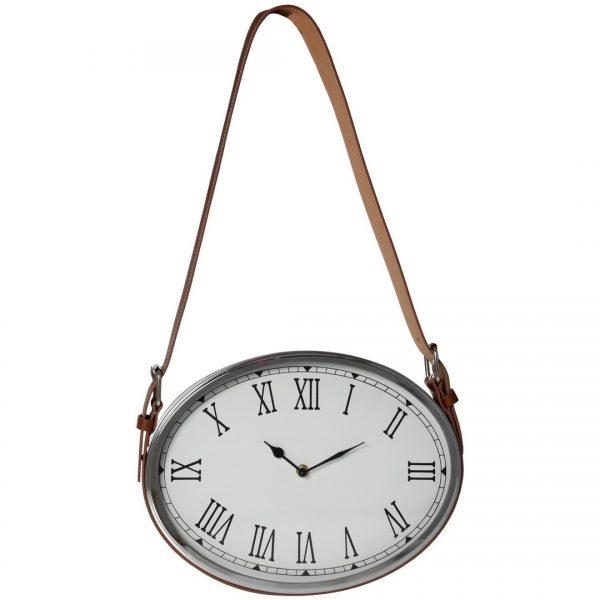 Reloj de pared de metal ovalado con cinta polipie