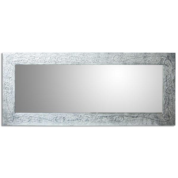 Espejo decorativo de madera plateado