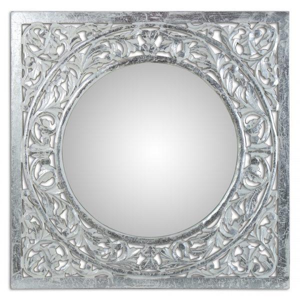 Espejo decorativo de madera calada blanco/plata