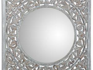 Espejo madera labrada blanco