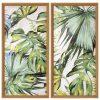 Pack 2 cuadros hojas tropicales