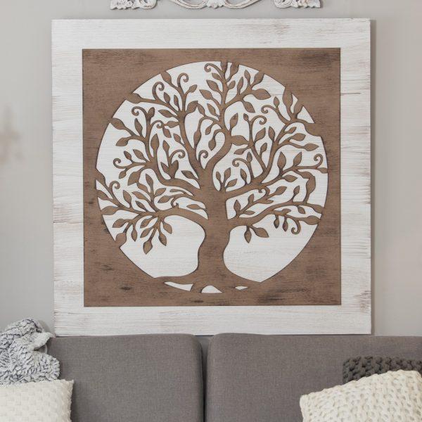 Cuadro árbol de la vida blanco
