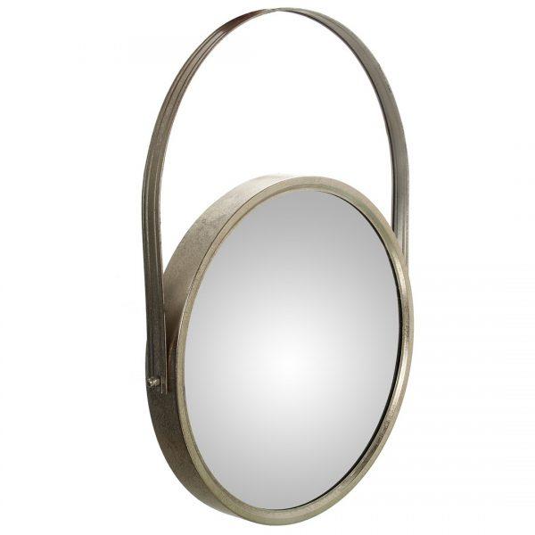 Espejo de metal con asa