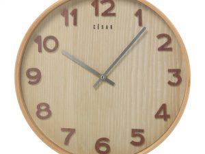 Reloj de pared de madera color haya