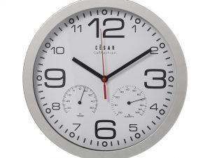 Reloj de pared con termómetro plata