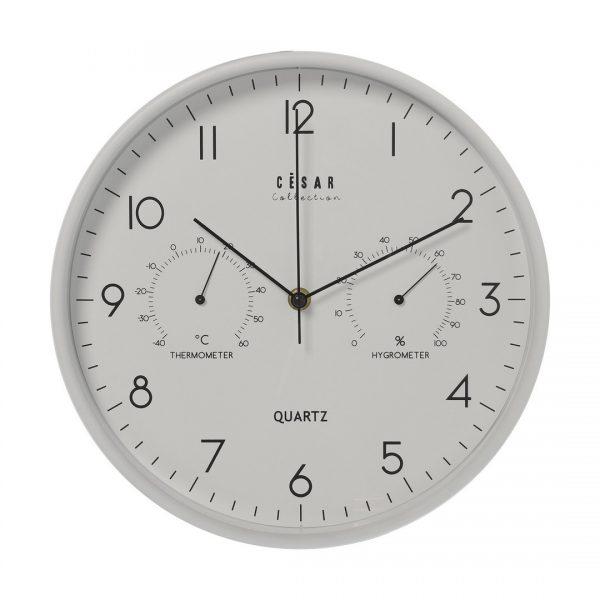 Reloj de pared con termómetro blanco