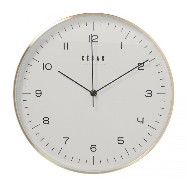 Reloj de pared de aluminio dorado