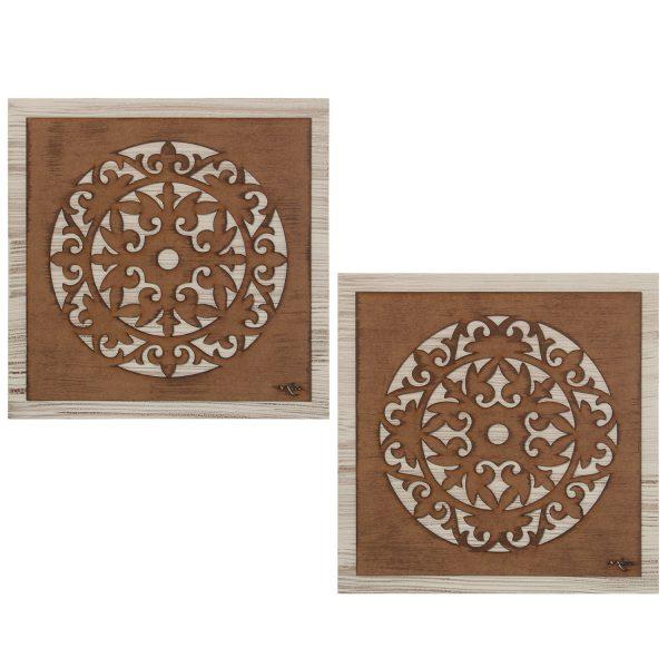 Conjunto de dos cuadros de madera MANDALAS