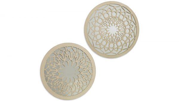 Conjunto de 2 espejos decorativos de madera blanca calada