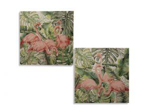 Conjunto de dos cuadros de lienzo de flamencos