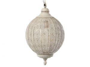 Lámpara de techo de metal labrada blanca