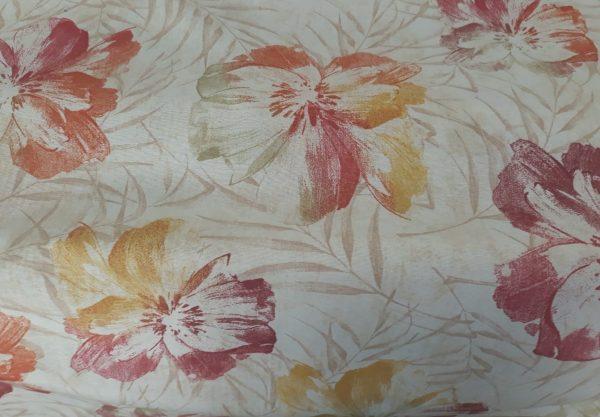 Cortina por metros flores naranjas