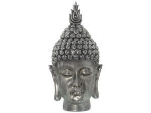 Cabeza decorativa Buda plateada.