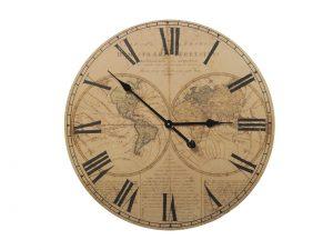 Reloj Madera Mapa