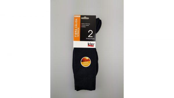Pack 2 calcetines hombre canalé fibra térmica