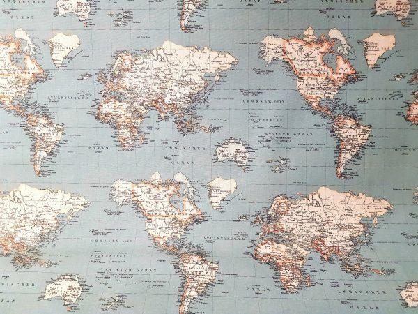 Tela loneta mapa mundi Azul