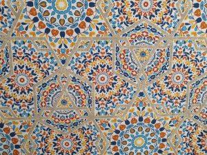 Tela Cortina Mosaico Azul