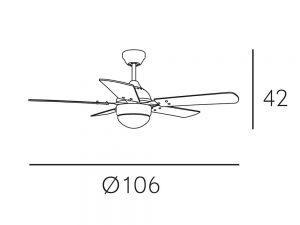 VEntilador Lámpara Mando 3 Velocidades Pontia